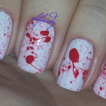 Blood splatter nail art by Jenette Maitland-Tomblin