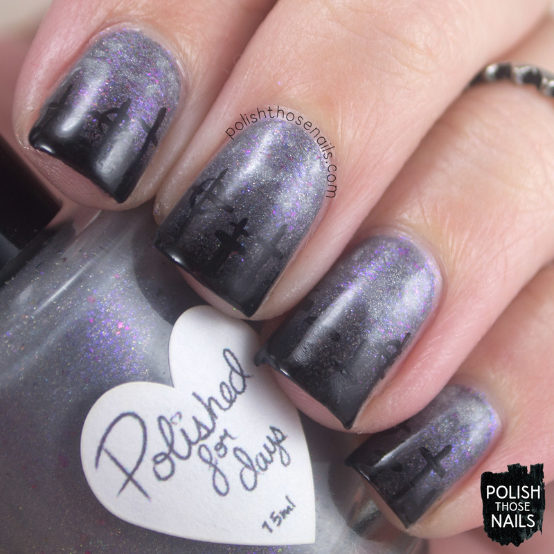 Warm Eclipsed Gravestones Nail Art By Marisa Cavanaugh Nailpolis