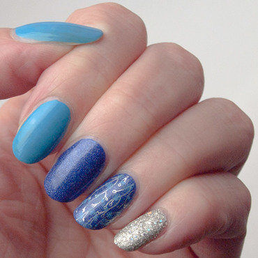 Birthday blues nail art by What's on my nails today?