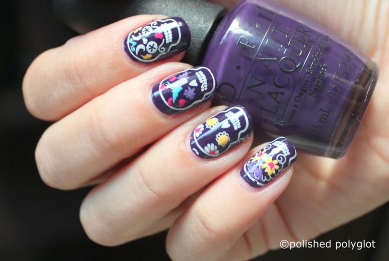 Sugar skulls on purple background nail art by Polished Polyglot