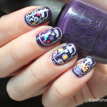 Sugar skulls on purple background nail art by Polished Polyglot