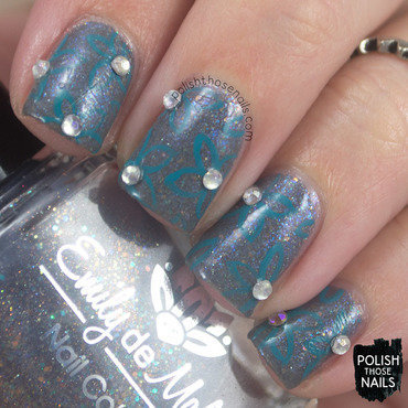 Grey shimmer teal floral rhinestone pattern nail art 4 thumb370f