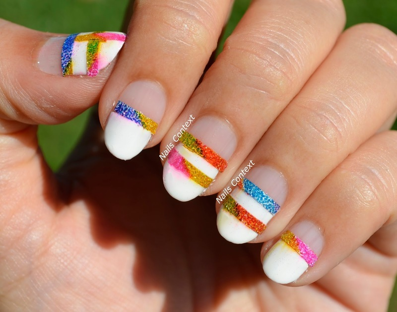 Glitter Tape Mani nail art by NailsContext