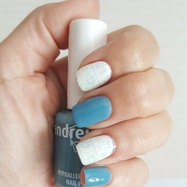 Blue & White nail art by Katarinna