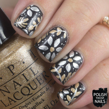Black matte metallic floral pattern nail art 4 thumb370f