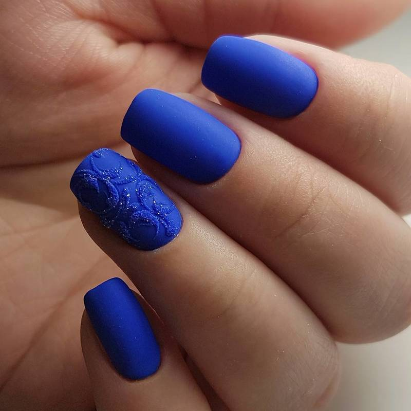 Blue Matte Nails Nail Art By Beautybigbang Nailpolis