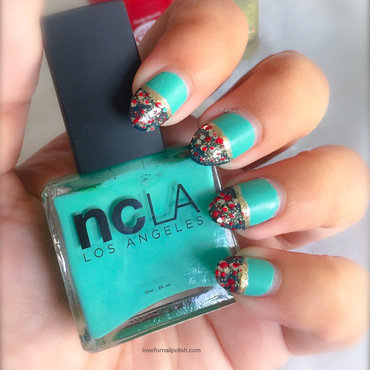 Mint and Teal With Polka Dots! nail art by Demi