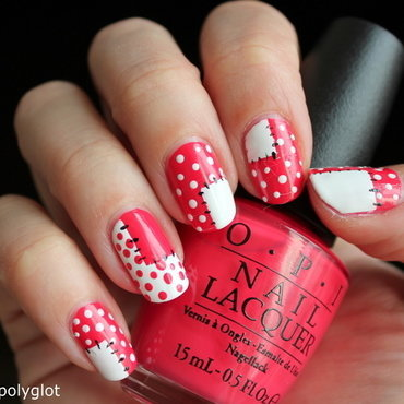 Coral and white patchwork manicure nail art by Polished Polyglot