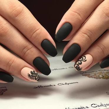black matte nail polish nail art by beautybigbang