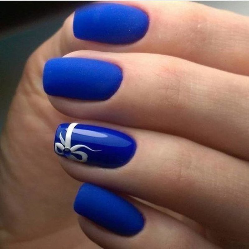Blue Matte Nails Design Nail Art By Beautybigbang