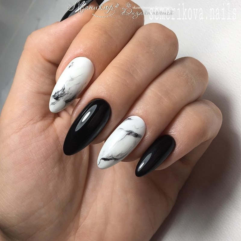 marble black white nails nail art by beautybigbang - Nailpolis ...