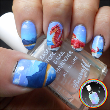 Freehand Dragon nail art by Ithfifi Williams