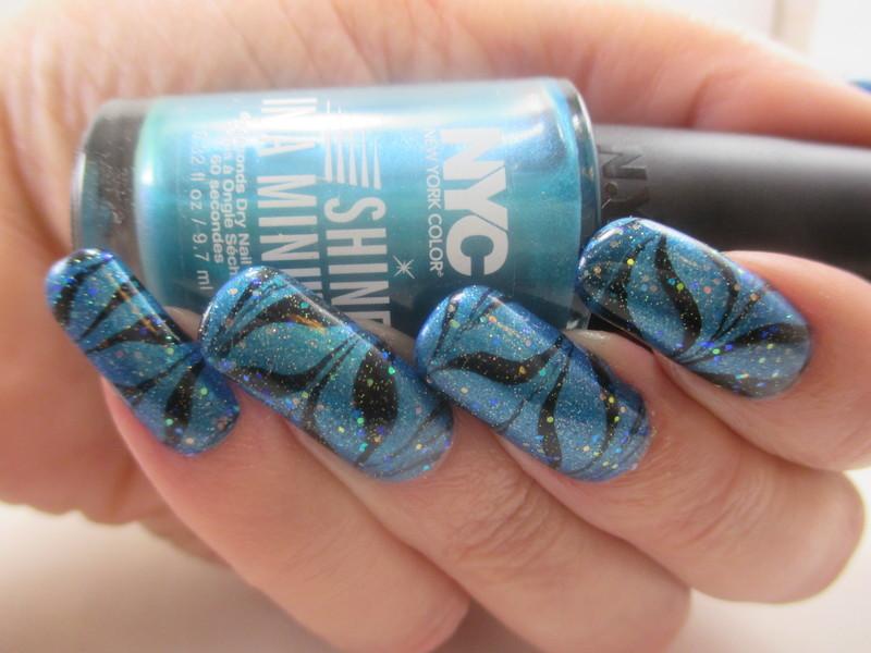 Aqua Holo WaterMarble nail art by NinaB