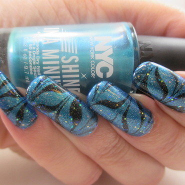 Aqua Holo WaterMarble nail art by NinaB