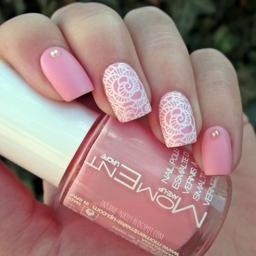 Matte pink lace nails nail art by Sanela