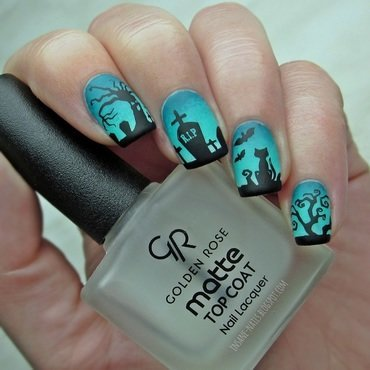 Black cat at the cemetery nail art by Sanela