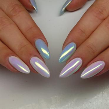 neon aurora powder nail art by beautybigbang