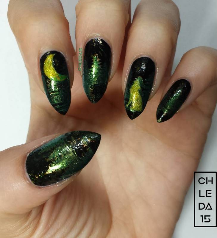 Spooky Forest Nail Art By Chleda15 Nailpolis Museum Of Nail Art