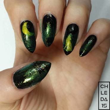Spooky Forest nail art by chleda15