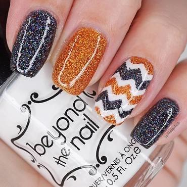 Glitter Halloween Chevrons nail art by Maddy S