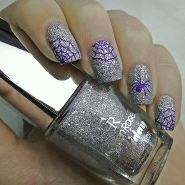 Spider web nails nail art by Sanela