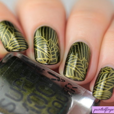 Leafy stamping nail art by Kerry_Fingertips