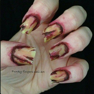 Gross blood nails nail art by Funky fingers nail art