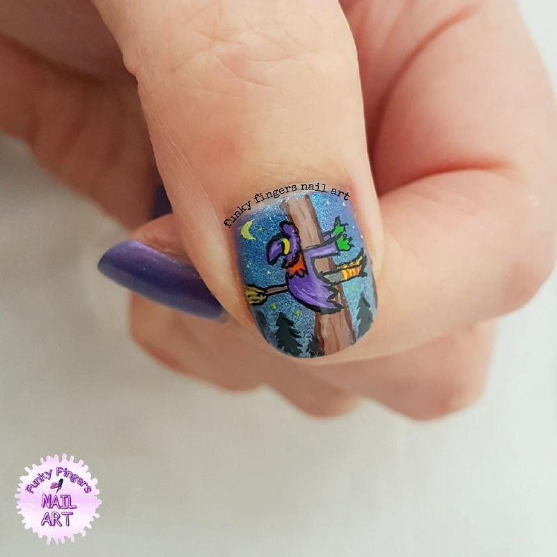 Watch out for trees! nail art by Funky fingers nail art