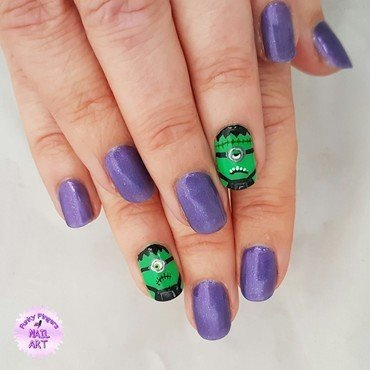 Frankenstein minions nail art by Funky fingers nail art