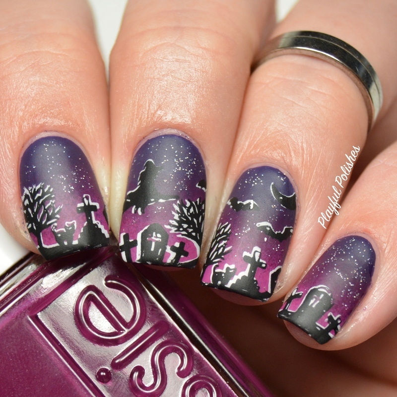 Halloween Scene nail art by Playful Polishes