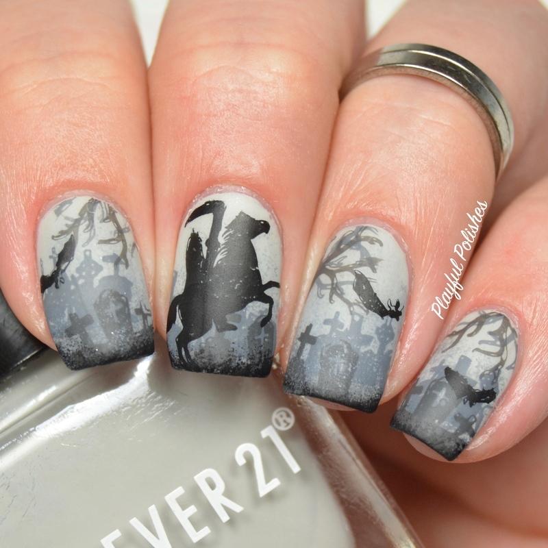 Headless Horseman nail art by Playful Polishes