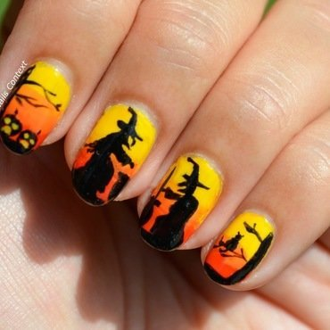 Witches for Halloween nail art by NailsContext