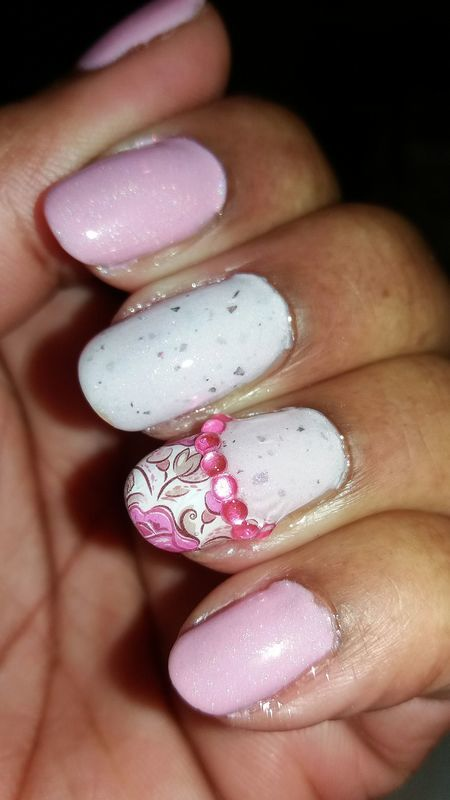Pink for Breast Cancer Awareness Month nail art by Jackie Bodick