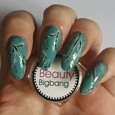 green marble nails nail art by beautybigbang