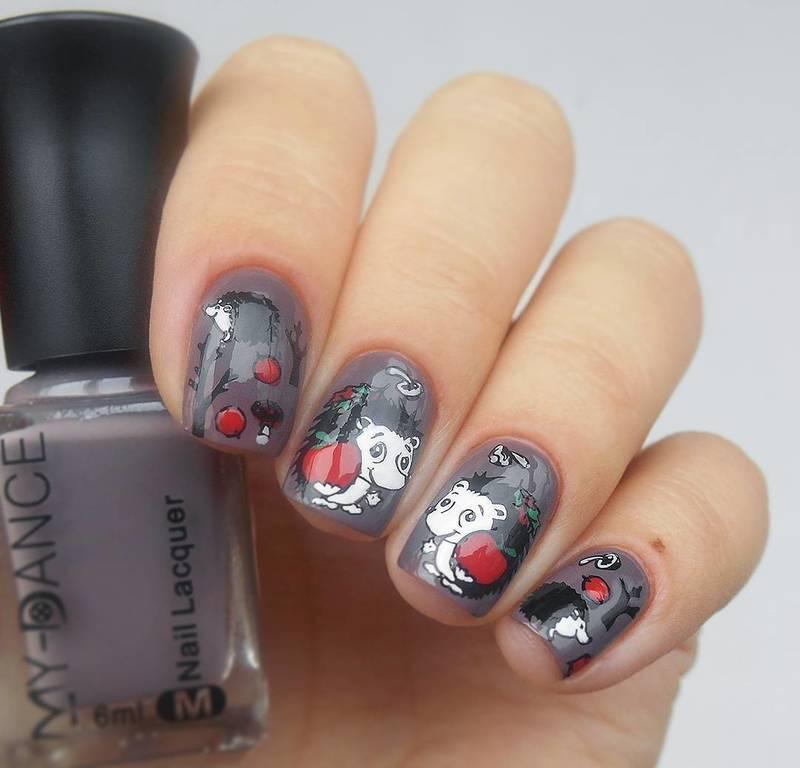 Grey Cute Hedgehog Nails Nail Art By Beautybigbang Nailpolis