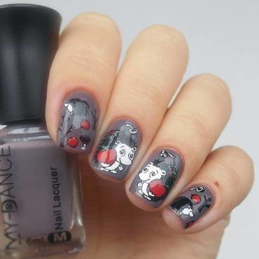 grey cute hedgehog nails nail art by beautybigbang