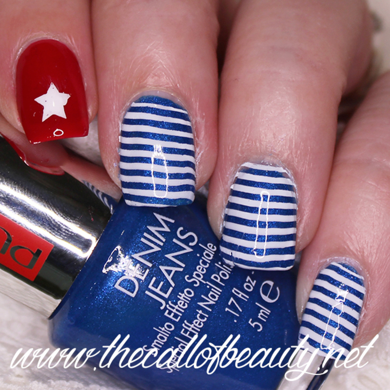 Cuban Flag nail art by The Call of Beauty