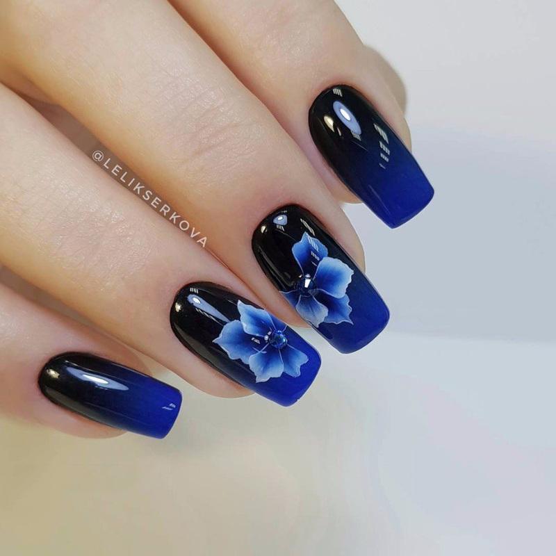 blue black floral nail design nail art by beautybigbang - Blue Black Floral Nail Design Nail Art By Beautybigbang - Nailpolis