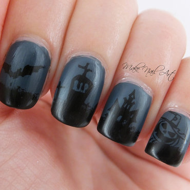 Dark Night Halloween Nails nail art by Make Nail Art