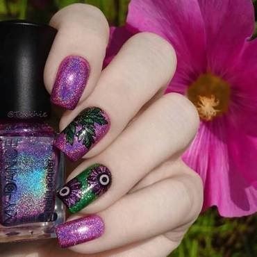 Purple Holographic Nail Polish  nail art by beautybigbang