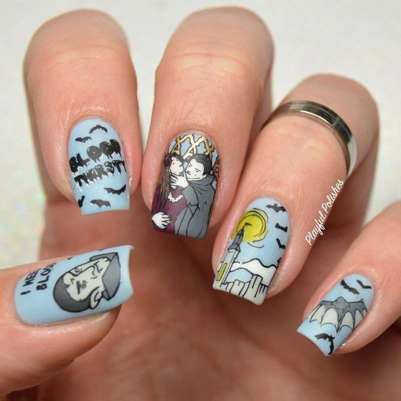 Dracula Nails nail art by Playful Polishes