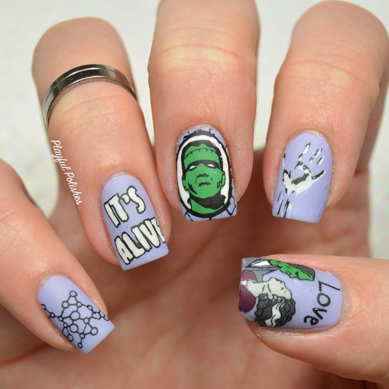 Frankenstein Nails nail art by Playful Polishes