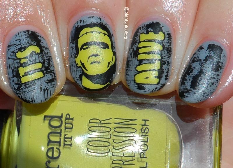 #glamnailschallengeoct Frankenstein nail art by Plenty of Colors