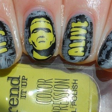 #glamnailschallengeoct Frankenstein nail art by Plenty of Colors