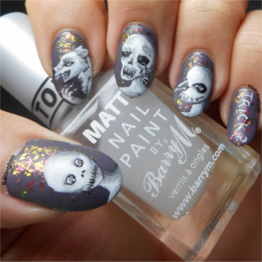 Freehand Halloween Creeps!  nail art by Ithfifi Williams