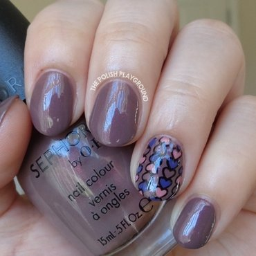 Purple and Pink Hearts Stamping Decal Nail Art nail art by Lisa N