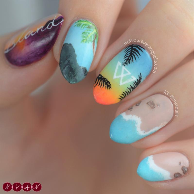 Island nail art by Becca (nyanails)