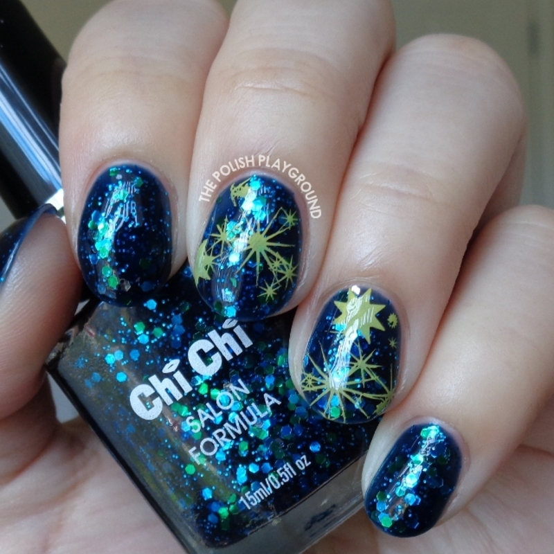 Abstract Galaxy Inspired Stamping nail art by Lisa N