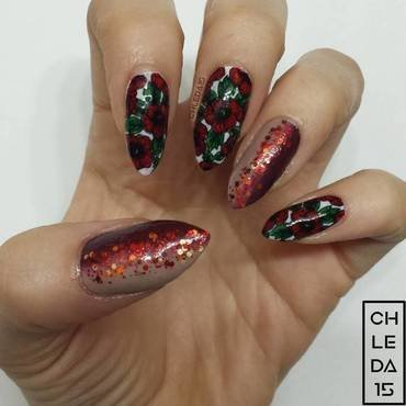 Poppy Fields nail art by chleda15