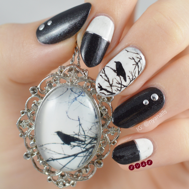 Once Upon a Midnight Dreary nail art by Becca (nyanails)